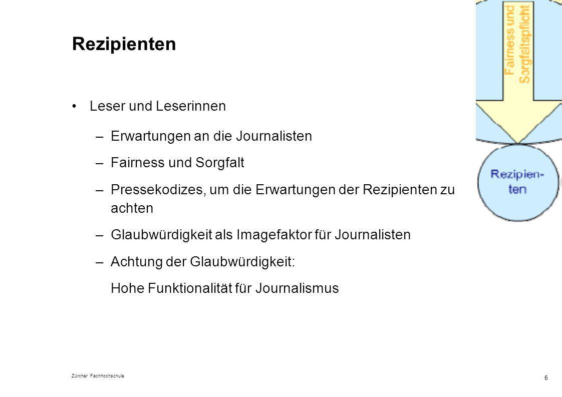 Zürcher Fachhochschule 6 Rezipienten Leser und Leserinnen –Erwartungen an die Journalisten –Fairness und Sorgfalt –Pressekodizes, um die Erwartungen d
