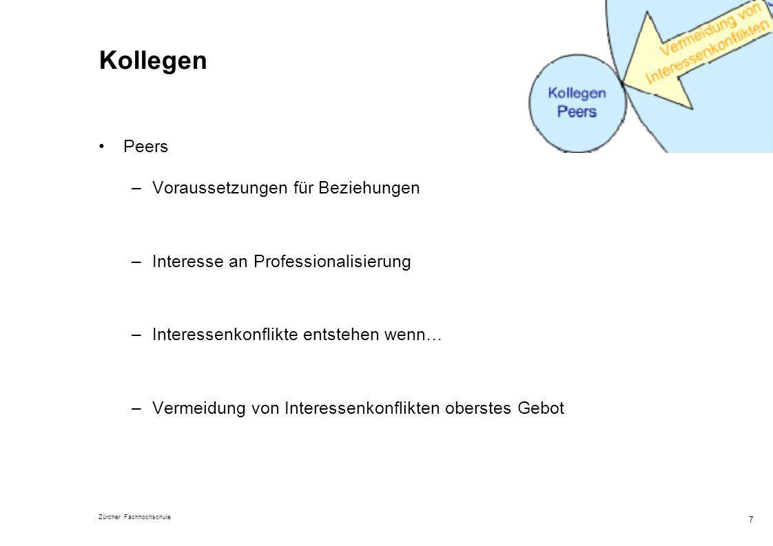 Zürcher Fachhochschule 7 Kollegen Peers –Voraussetzungen für Beziehungen –Interesse an Professionalisierung –Interessenkonflikte entstehen wenn… –Verm