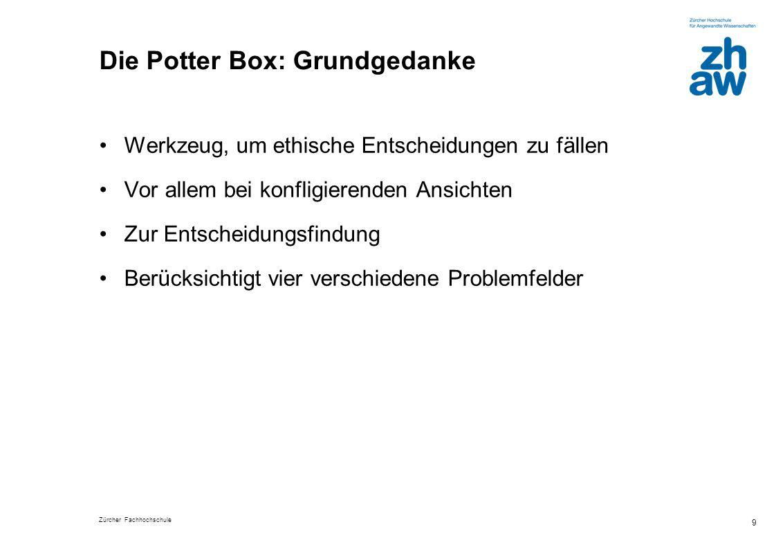 Zürcher Fachhochschule 9 Die Potter Box: Grundgedanke Werkzeug, um ethische Entscheidungen zu fällen Vor allem bei konfligierenden Ansichten Zur Entsc