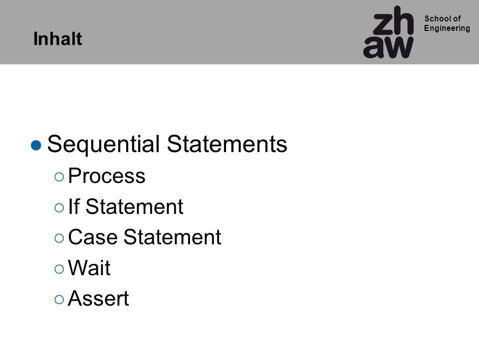 School of Engineering ASCII Decoder mit case statement ARCHITECTURE rtl OF ascii_decoder IS SIGNAL pointer: INTEGER RANGE 0 TO 79; SIGNAL zeichen: STD_LOGIC_VECTOR (7 DOWNTO 0); BEGIN comb_decoder : PROCESS(pointer) BEGIN case pointer IS when 0 => zeichen <= x48 ; when 1 => zeichen <= x65 ; when 2 => zeichen <= x6c ; when 3 => zeichen <= x6c ; when 4 => zeichen <= x6f ; when 5 => zeichen <= x21 ; when OTHERS => zeichen <= x 20 ; END case; ….