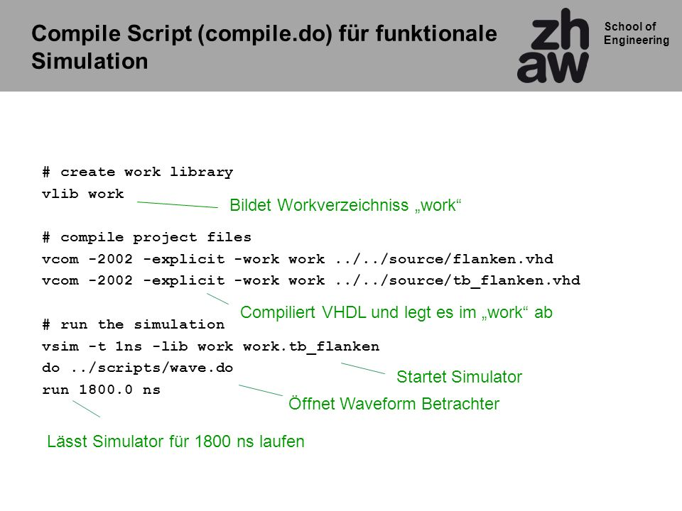 School of Engineering Compile Script (compile.do) für funktionale Simulation # create work library vlib work # compile project files vcom -2002 -expli