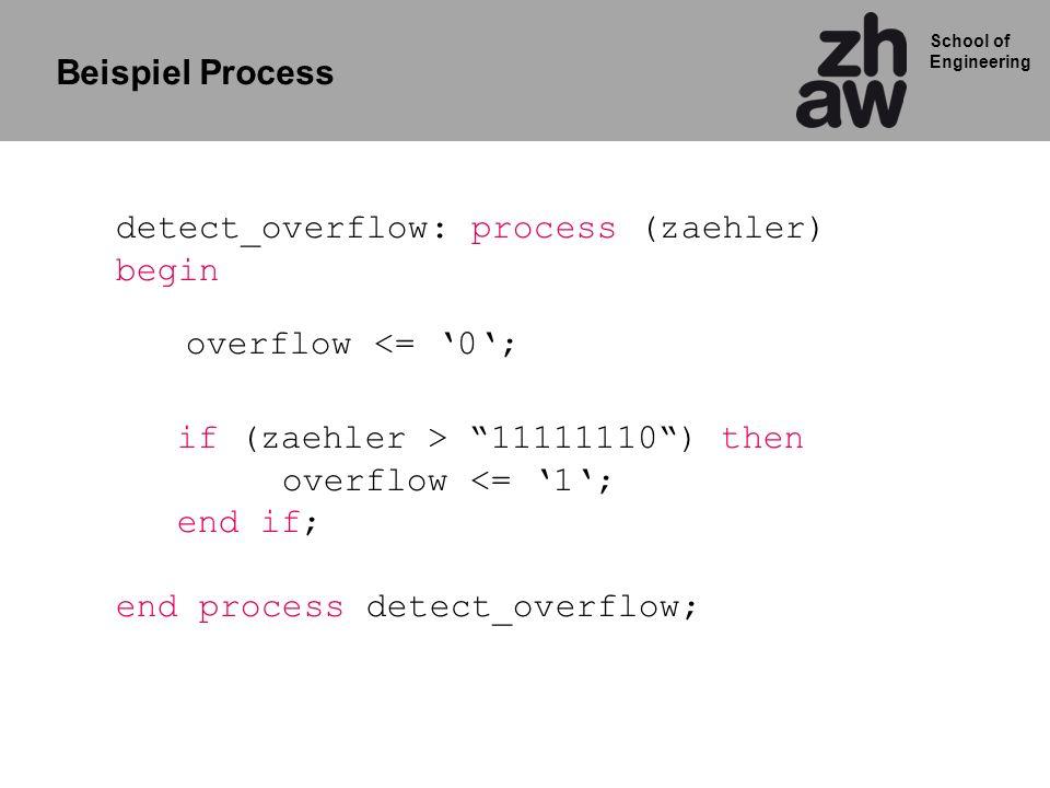School of Engineering Wähler bcd2gray: process (bcd) Begin case bcd is when 000 => gray <= 000; when 001 => gray <= 001; when 010 => gray <= 011; when 011 => gray <= 010; when 100 => gray <= 110; when 101 => gray <= 111; when 110 => gray <= 101; when OTHERS => gray <= 100; end case; end process bcd2gray; Eingangssignal Ausgangs Zuweisung Code Wandler mit CASE statement