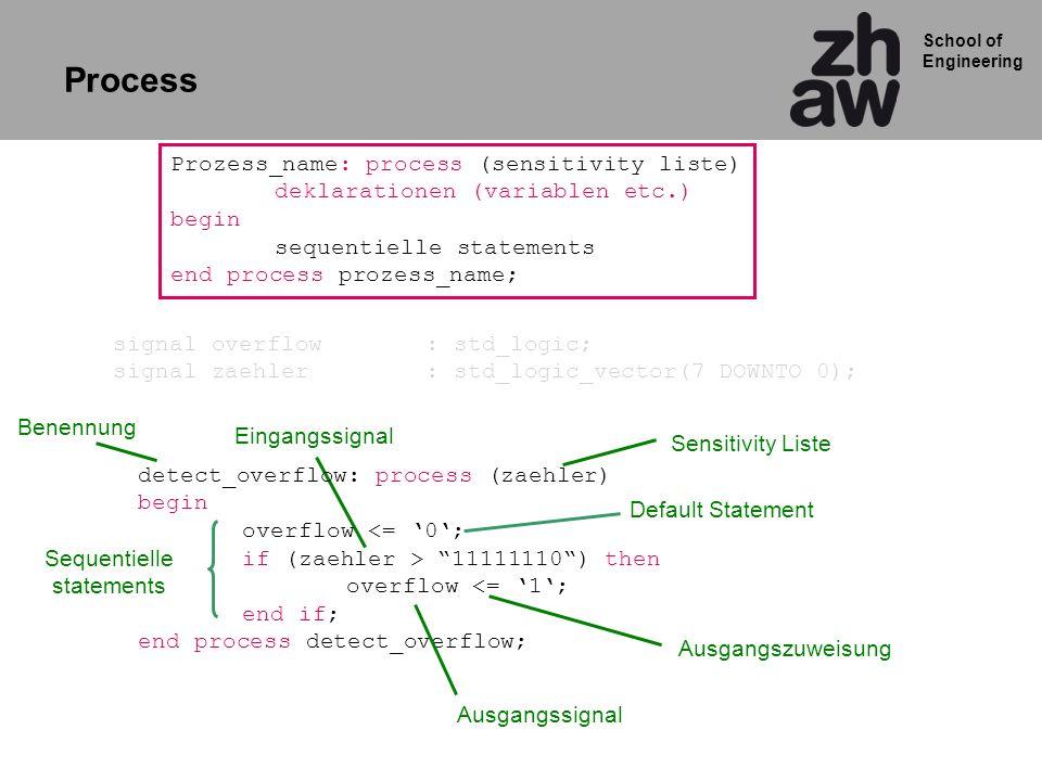 School of Engineering P1: process (reset,A,M) Begin if reset = 1 then next_q <= 0; else next_q <= A and M; end if; end process P1; P2: process (clock,next_q) Begin if clockevent and clock= 1 then q <= next_q; end if; end process P2; Process 1 Process 2 Die Prozesse selbst sind ein concurrent statement und laufen innerhalb der Architektur gleichzeitig ab Sequentielle statements: Innerhalb eines Prozesses laufen Statements sequentiell ab.