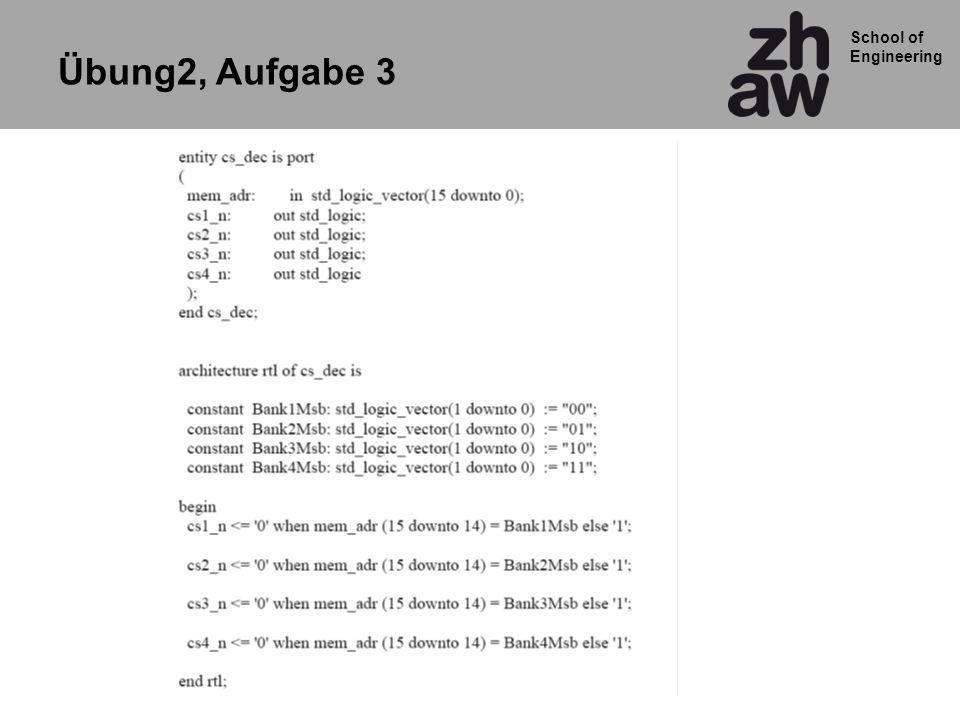 School of Engineering ARCHITECTURE rtl OF zaehl_einfach IS SIGNAL cnt_folge: INTEGER range 0 TO 15; SIGNAL cnt_gegenwart: INTEGER range 0 TO 15; BEGIN logik : PROCESS(cnt_gegenwart) BEGIN cnt_folge <= cnt_gegenwart + 1 ; END PROCESS logik; flip_flops : PROCESS(clk, reset) BEGIN IF reset = 1 THEN cnt_gegenwart <= 0; ELSIF clk EVENT AND clk = 1 THEN cnt_gegenwart <= cnt_folge ; END IF; END PROCESS flip_flops; cnt_out <= std_logic_vector(to_unsigned(cnt_gegenwart,4)); END rtl; Umwandlung Integer zu Vektor + Zuweisung Zwischen-Signal zum Ausgangssignal Logik:Process Takt:Process Grundprinzip des Zählers in VHDL