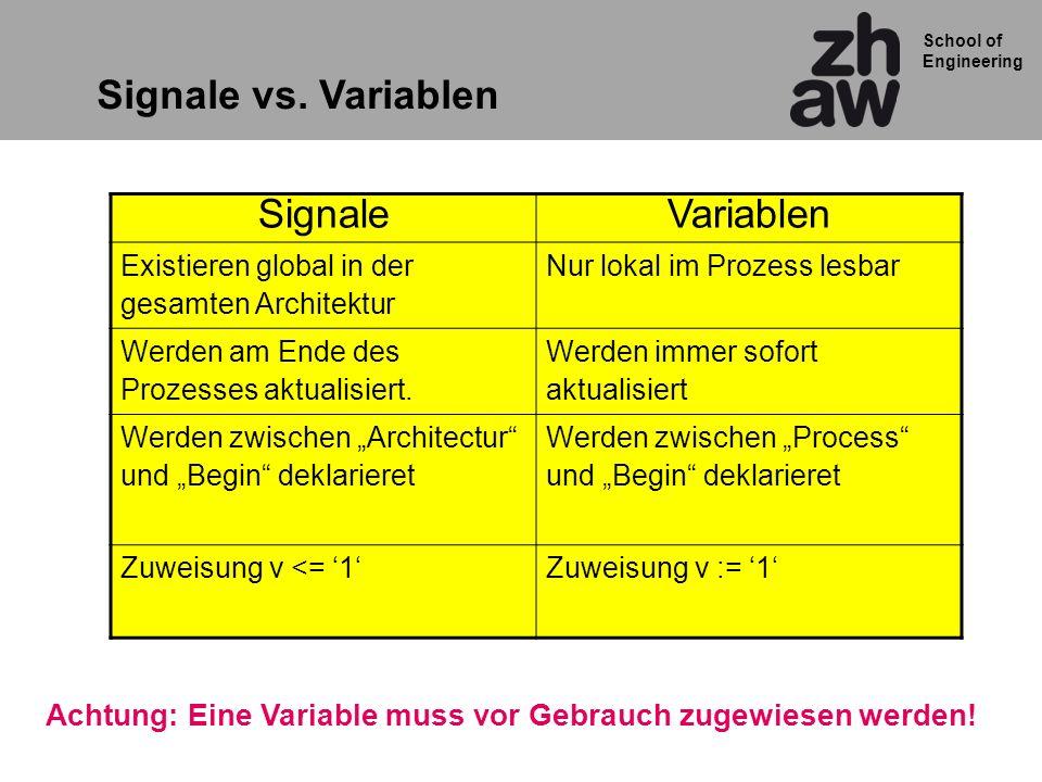 School of Engineering Signale vs. Variablen SignaleVariablen Existieren global in der gesamten Architektur Nur lokal im Prozess lesbar Werden am Ende