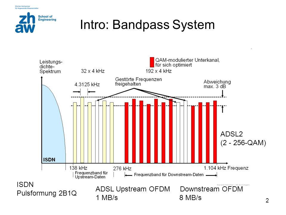 2 Intro: Bandpass System ISDN Pulsformung 2B1Q ADSL Upstream OFDM Downstream OFDM 1 MB/s 8 MB/s ADSL2 (2 - 256-QAM)