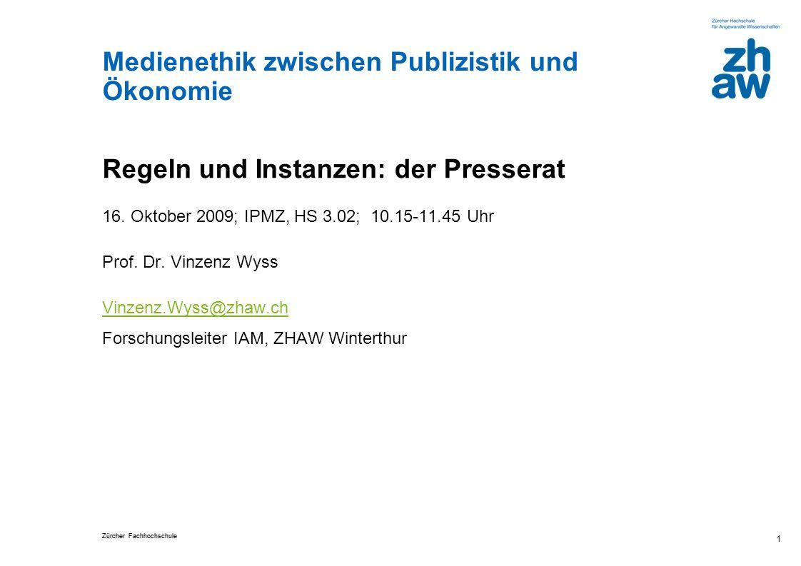 Zürcher Fachhochschule 12 72% kennen Richtlinien zum Kodex Wie gut kennen die Journalisten den Schweizer Presserat.