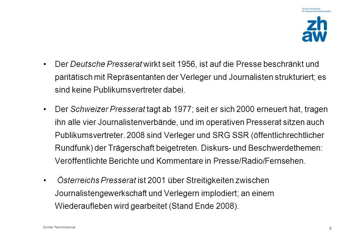 Zürcher Fachhochschule 26 Würdigung: Der Presserat ist… (in %)