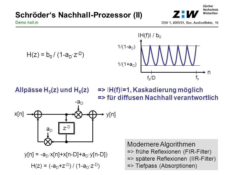 Schröders Nachhall-Prozessor (II) DSV 1, 2005/01, Rur, Audioeffekte, 16 H(z) = (-a D +z -D ) / (1-a D ·z -D ) Demo hall.m Modernere Algorithmen => frü