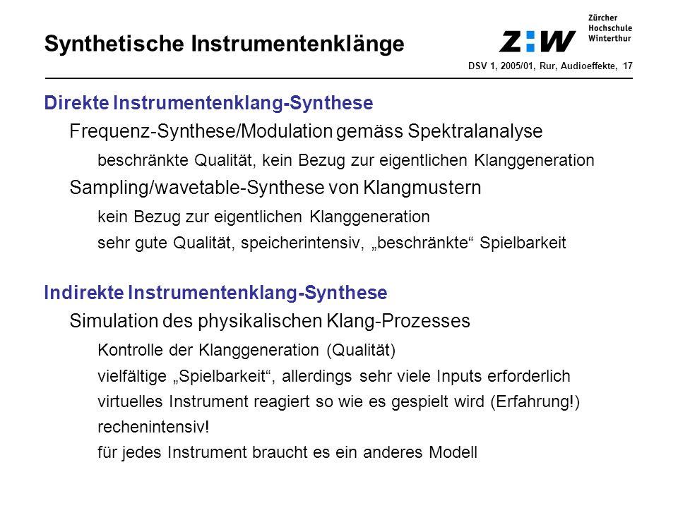 Direkte Instrumentenklang-Synthese Frequenz-Synthese/Modulation gemäss Spektralanalyse beschränkte Qualität, kein Bezug zur eigentlichen Klanggenerati
