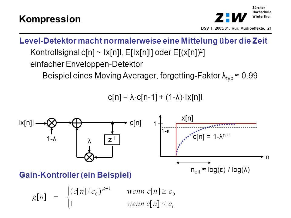 Kompression Level-Detektor macht normalerweise eine Mittelung über die Zeit Kontrollsignal c[n] ~ Ix[n]I, E[Ix[n]I] oder E[(x[n]) 2 ] einfacher Envelo