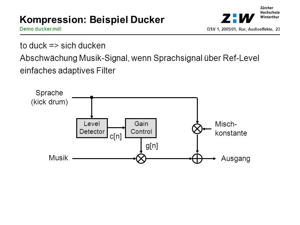 Kompression: Beispiel Ducker Level Detector Gain Control Sprache (kick drum) Ausgang c[n] g[n] Musik to duck => sich ducken Abschwächung Musik-Signal,