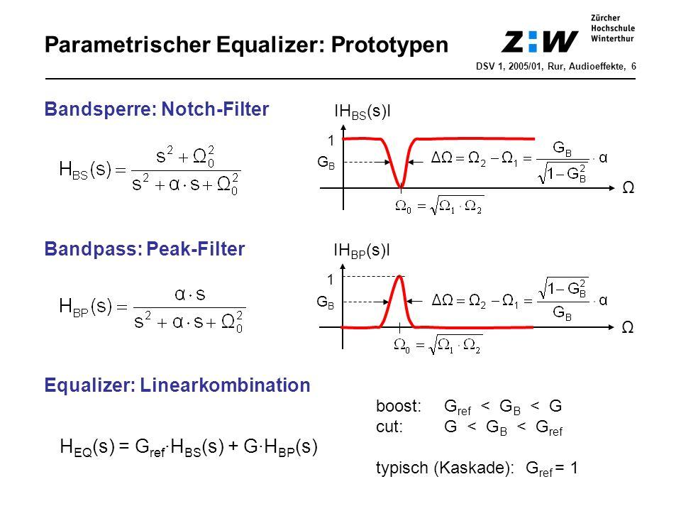 Parametrischer Equalizer: z-UTF Bilineare Trafo => H EQ (z) = G ref ·H BS (z) + G·H BP (z) z-UTF mit f IH EQ (f)I GBGB G ΔfΔf f0f0 f s /2 DSV 1, 2005/01, Rur, Audioeffekte, 7 1 cut symmetrisch zu boost boost Amplitudengang Demo paramequalizer.m