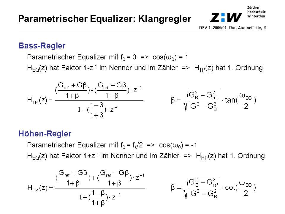 Parametrischer Equalizer: Klangregler Bass-Regler Parametrischer Equalizer mit f 0 = 0 => cos(ω 0 ) = 1 H EQ (z) hat Faktor 1-z -1 im Nenner und im Zä