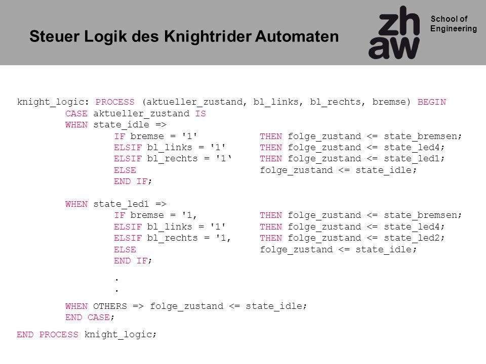 School of Engineering knight_logic: PROCESS (aktueller_zustand, bl_links, bl_rechts, bremse) BEGIN CASE aktueller_zustand IS WHEN state_idle => IF bremse = 1 THEN folge_zustand IF bremse = 1THEN folge_zustand <= state_bremsen; ELSIF bl_links = 1 THEN folge_zustand <= state_led4; ELSIF bl_rechts = 1THEN folge_zustand <= state_led2; ELSEfolge_zustand <= state_idle; END IF;.