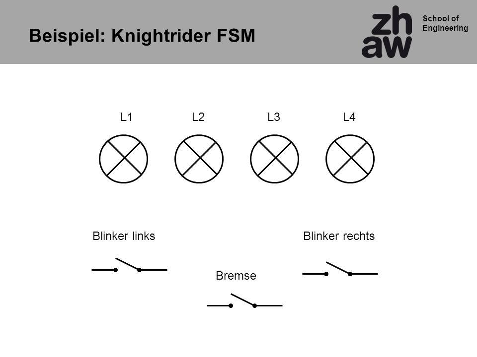 School of Engineering L1L2L3L4 Blinker linksBlinker rechts Bremse Beispiel: Knightrider FSM