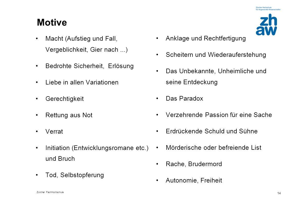 Zürcher Fachhochschule 14 Motive Macht (Aufstieg und Fall, Vergeblichkeit, Gier nach...) Bedrohte Sicherheit, Erlösung Liebe in allen Variationen Gere