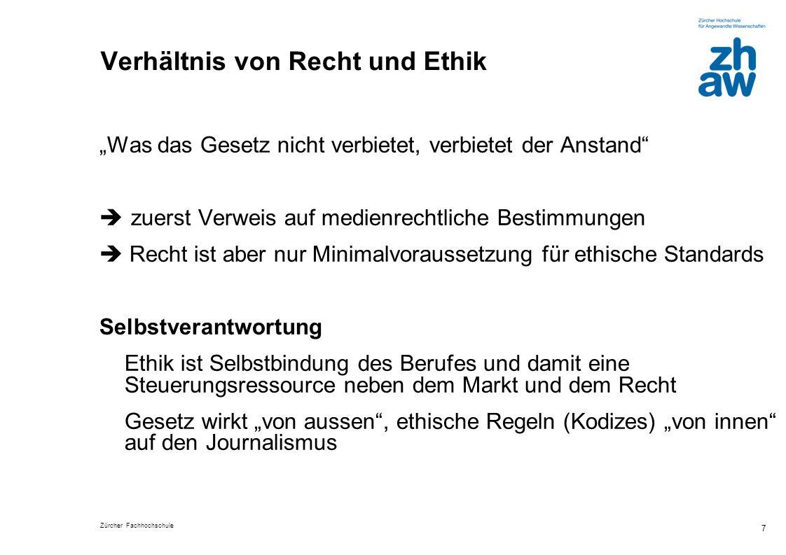 Zürcher Fachhochschule 7 Verhältnis von Recht und Ethik Was das Gesetz nicht verbietet, verbietet der Anstand zuerst Verweis auf medienrechtliche Best