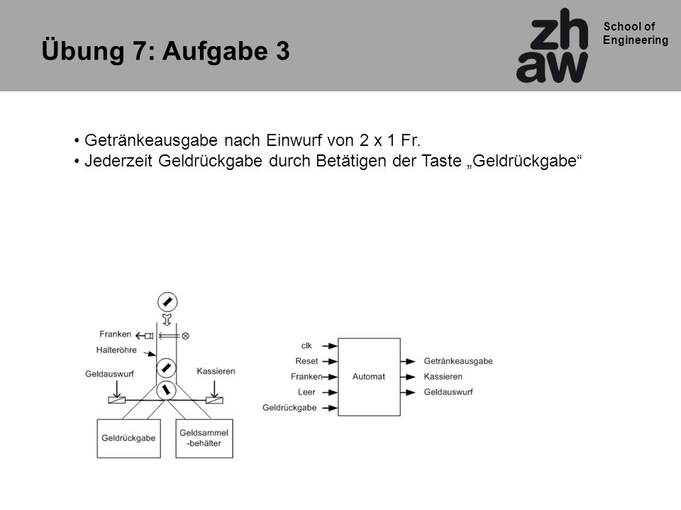 School of Engineering 13 Ausgang: PROCESS (aktueller_zustand) BEGIN IF BREMSEN = 1 THEN led_out <= 1111 ; ELSIF (LINKS = 0 ) AND (RECHTS = 0 )) THEN led_out <= 0000 ; ELSE CASE aktueller_zustand is when state_led1=> led_out <= 1000 ; when state_led2=> led_out <= 0100 ; when state_led3=> led_out <= 0010 ; when state_led4=> led_out <= 0001 ; when OTHERS=> led_out <= 0000 ; END CASE; END IF; END PROCESS ausgang; Ausgangslogik des Knightriders nach Mealy