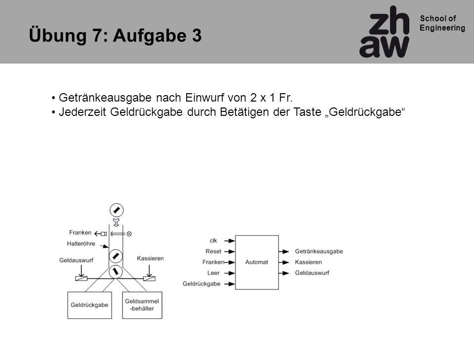 School of Engineering Übung 7: Aufgabe 3 Getränkeausgabe nach Einwurf von 2 x 1 Fr. Jederzeit Geldrückgabe durch Betätigen der Taste Geldrückgabe