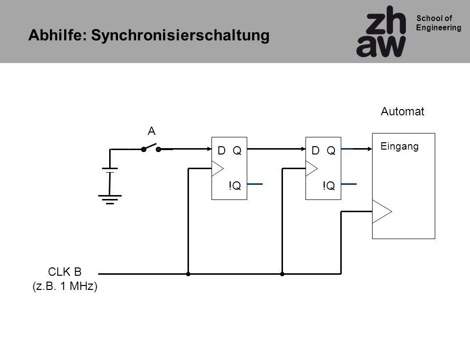 School of Engineering Eingang CLK B (z.B. 1 MHz) Automat QD !Q QD A Abhilfe: Synchronisierschaltung