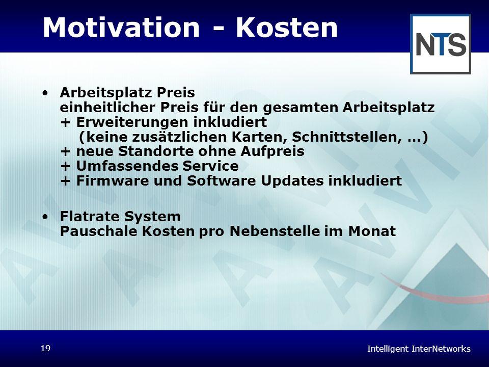 Intelligent InterNetworks 19 Motivation - Kosten Arbeitsplatz Preis einheitlicher Preis für den gesamten Arbeitsplatz + Erweiterungen inkludiert (kein