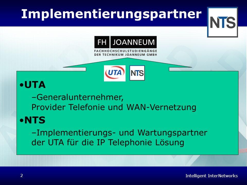 Intelligent InterNetworks 2 Implementierungspartner UTA –Generalunternehmer, Provider Telefonie und WAN-Vernetzung NTS –Implementierungs- und Wartungs