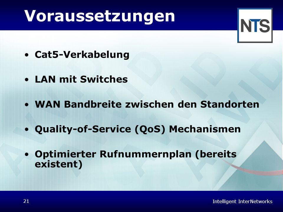 Intelligent InterNetworks 21 Voraussetzungen Cat5-Verkabelung LAN mit Switches WAN Bandbreite zwischen den Standorten Quality-of-Service (QoS) Mechani