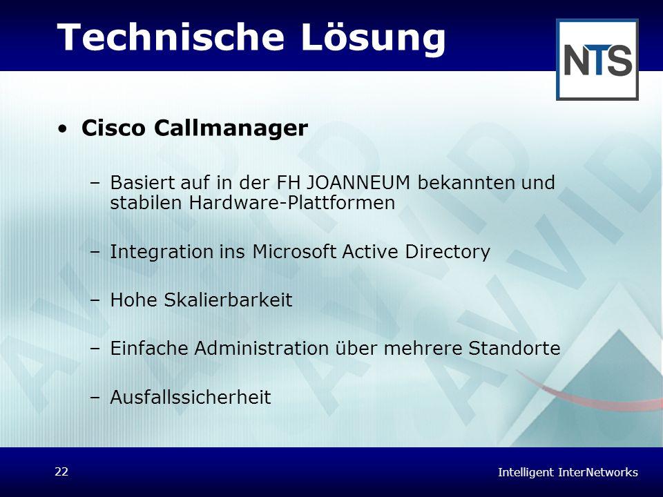 Intelligent InterNetworks 22 Technische Lösung Cisco Callmanager –Basiert auf in der FH JOANNEUM bekannten und stabilen Hardware-Plattformen –Integrat