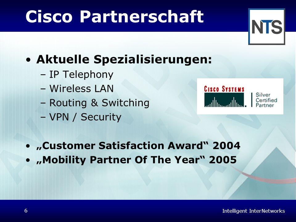 Intelligent InterNetworks 6 Cisco Partnerschaft Aktuelle Spezialisierungen: –IP Telephony –Wireless LAN –Routing & Switching –VPN / Security Customer