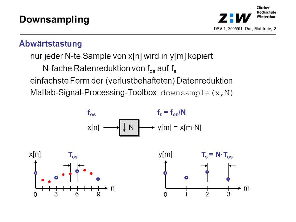 Abwärtstastung nur jeder N-te Sample von x[n] wird in y[m] kopiert N-fache Ratenreduktion von f os auf f s einfachste Form der (verlustbehafteten) Dat