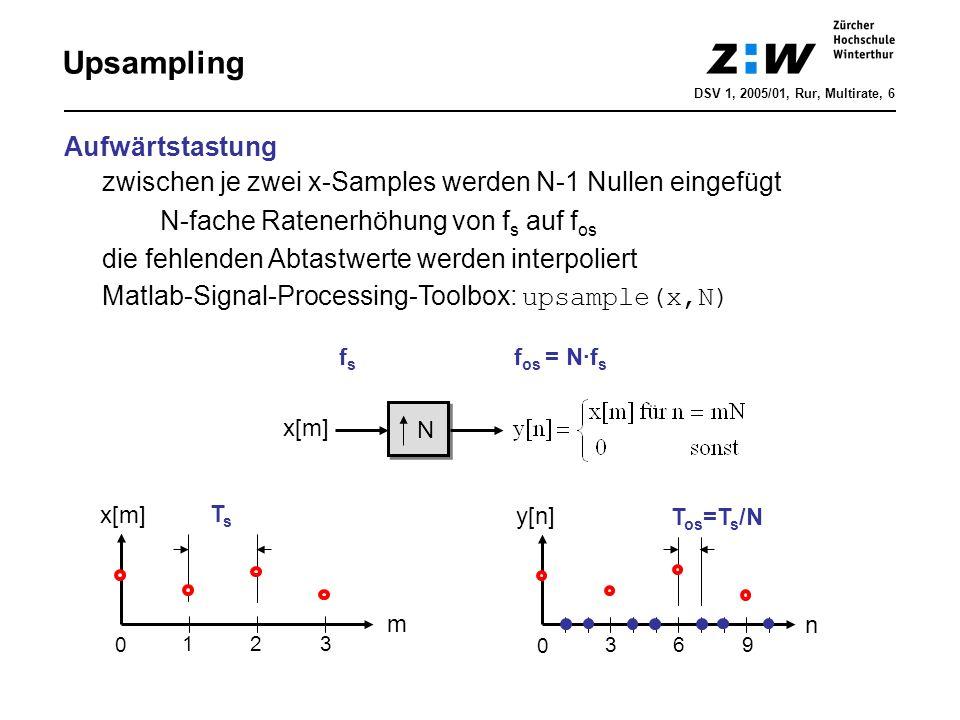 Upsampling n N 0 369 m x[m] 0 123 fsfs f os = N·f s TsTs T os =T s /N Aufwärtstastung zwischen je zwei x-Samples werden N-1 Nullen eingefügt N-fache R
