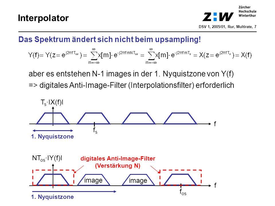 Interpolator Das Spektrum ändert sich nicht beim upsampling! aber es entstehen N-1 images in der 1. Nyquistzone von Y(f) => digitales Anti-Image-Filte