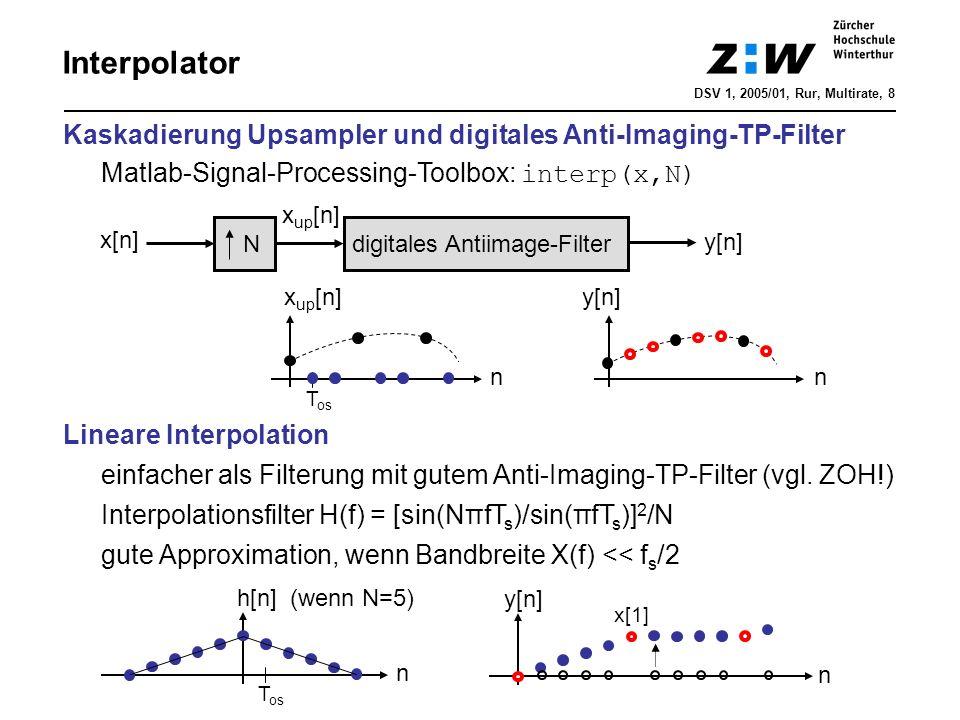 digitales Antiimage-Filter N x[n] y[n] n n x up [n] y[n] Interpolator DSV 1, 2005/01, Rur, Multirate, 8 Kaskadierung Upsampler und digitales Anti-Imag