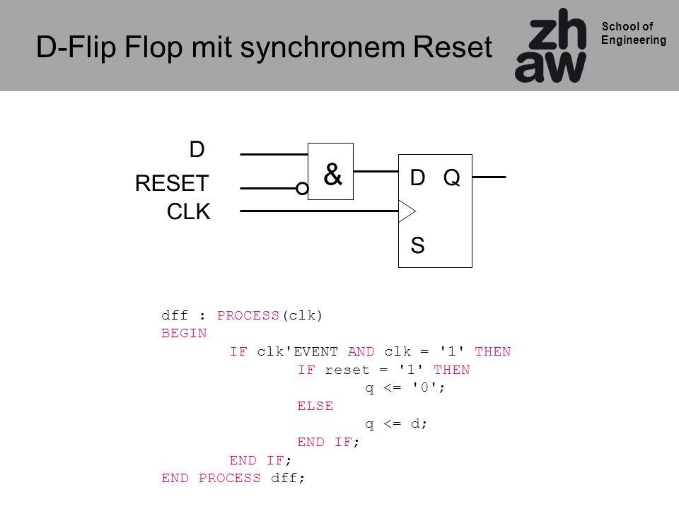 School of Engineering D-Flip Flop mit synchronem Reset Q S D CLK RESET & D dff : PROCESS(clk) BEGIN IF clk EVENT AND clk = 1 THEN IF reset = 1 THEN q <= 0 ; ELSE q <= d; END IF; END IF; END PROCESS dff;