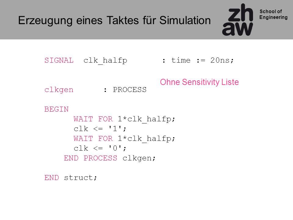 School of Engineering Erzeugung eines Taktes für Simulation SIGNAL clk_halfp : time := 20ns; clkgen : PROCESS BEGIN WAIT FOR 1*clk_halfp; clk <= '1';