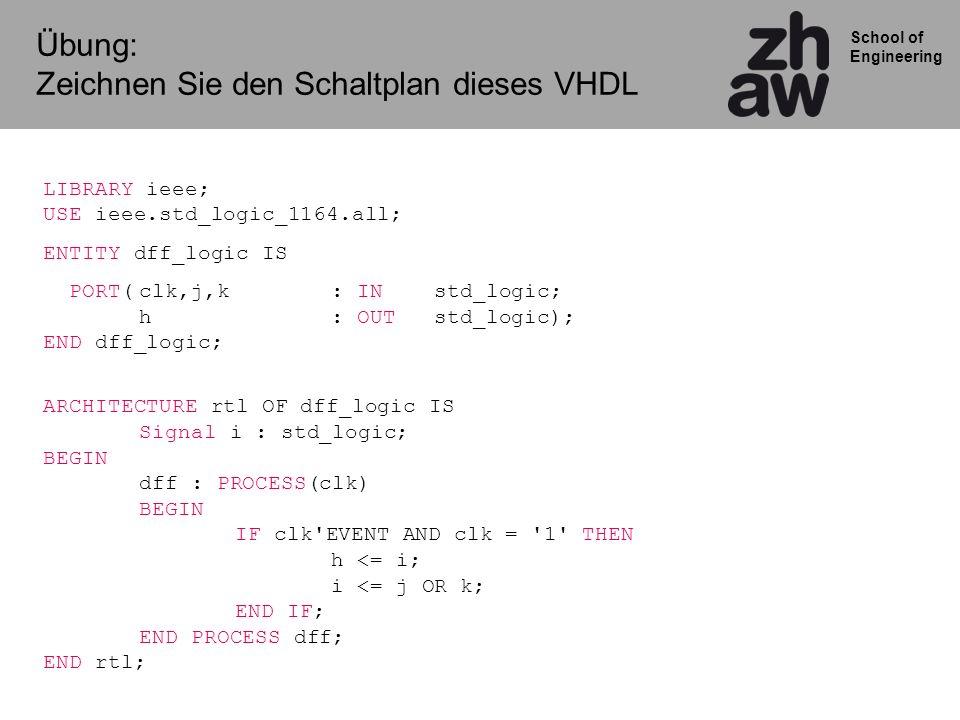 School of Engineering Übung: Zeichnen Sie den Schaltplan dieses VHDL LIBRARY ieee; USE ieee.std_logic_1164.all; ENTITY dff_logic IS PORT(clk,j,k: IN s