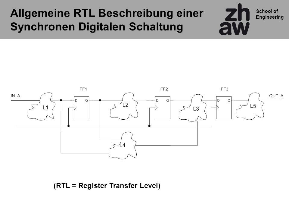 School of Engineering Allgemeine RTL Beschreibung einer Synchronen Digitalen Schaltung (RTL = Register Transfer Level)