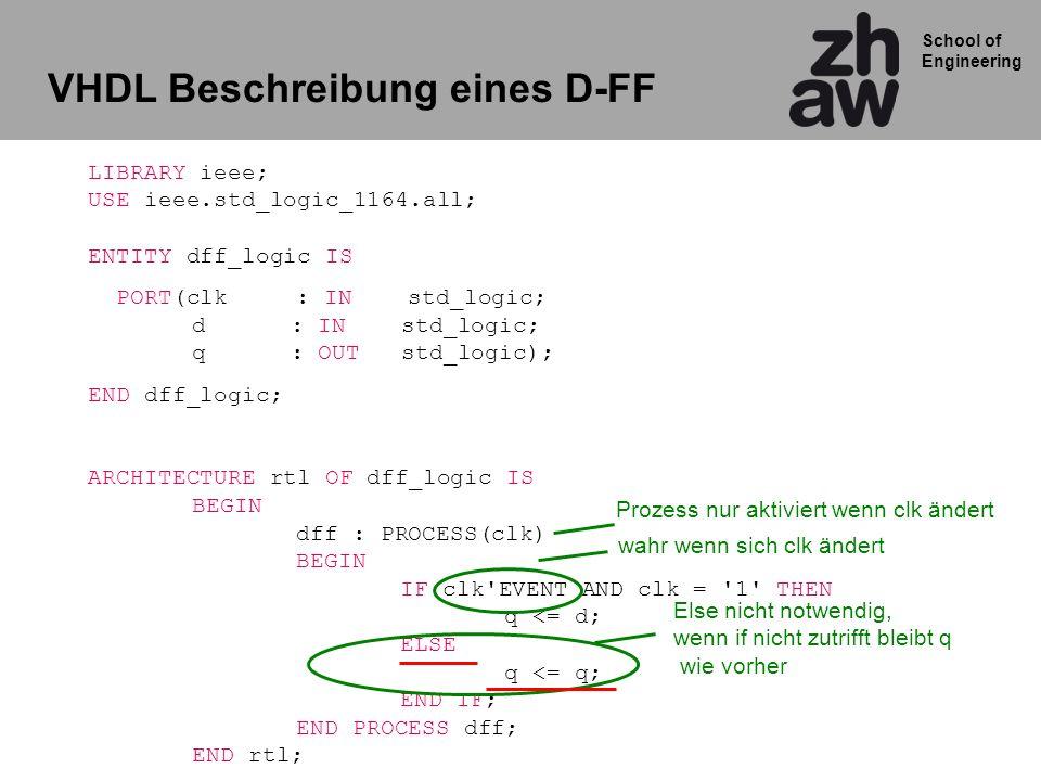 School of Engineering LIBRARY ieee; USE ieee.std_logic_1164.all; ENTITY dff_logic IS PORT(clk: IN std_logic; d : IN std_logic; q : OUT std_logic); END dff_logic; ARCHITECTURE rtl OF dff_logic IS BEGIN dff : PROCESS(clk) BEGIN IF clk EVENT AND clk = 1 THEN q <= d; ELSE q <= q; END IF; END PROCESS dff; END rtl; Prozess nur aktiviert wenn clk ändert wahr wenn sich clk ändert Else nicht notwendig, wenn if nicht zutrifft bleibt q wie vorher VHDL Beschreibung eines D-FF