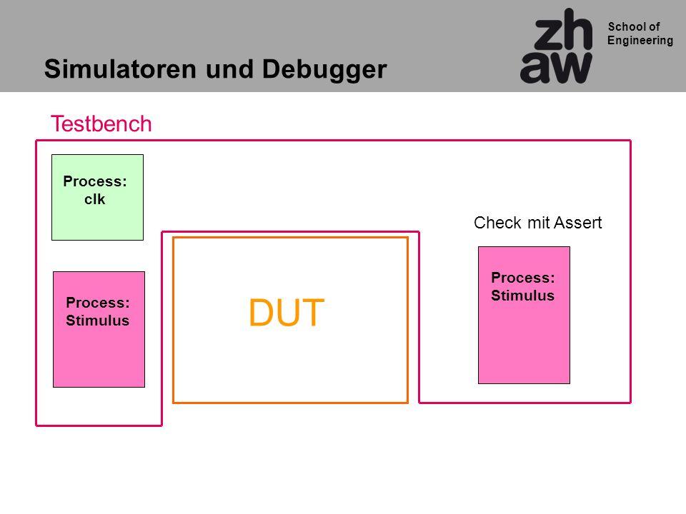 School of Engineering Simulatoren und Debugger DUT Process: Stimulus Process: clk Testbench Process: Stimulus Check mit Assert