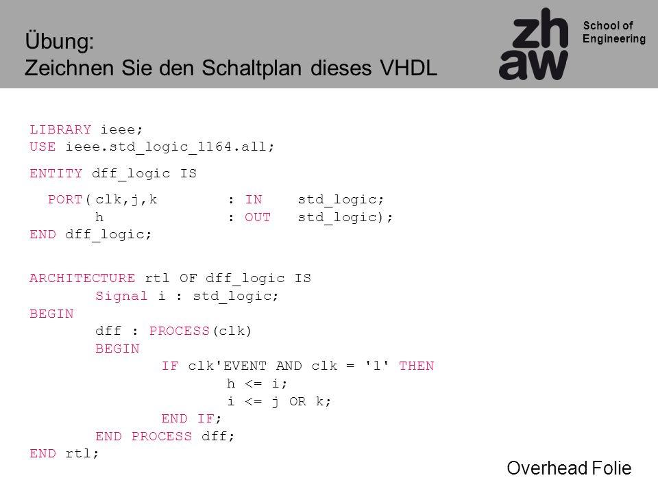School of Engineering Übung: Zeichnen Sie den Schaltplan dieses VHDL LIBRARY ieee; USE ieee.std_logic_1164.all; ENTITY dff_logic IS PORT(clk,j,k: IN std_logic; h : OUT std_logic); END dff_logic; ARCHITECTURE rtl OF dff_logic IS Signal i : std_logic; BEGIN dff : PROCESS(clk) BEGIN IF clk EVENT AND clk = 1 THEN h <= i; i <= j OR k; END IF; END PROCESS dff; END rtl; Overhead Folie