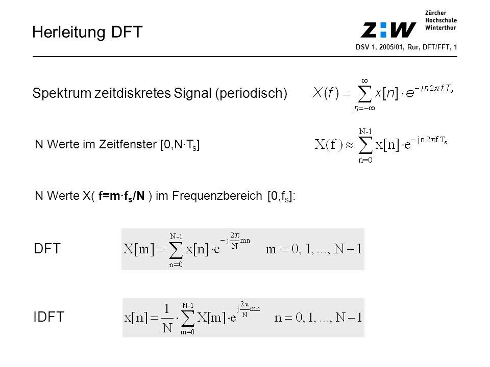 Herleitung DFT DSV 1, 2005/01, Rur, DFT/FFT, 1 Spektrum zeitdiskretes Signal (periodisch) N Werte im Zeitfenster [0,N·T s ] N Werte X( f=m·f s /N ) im