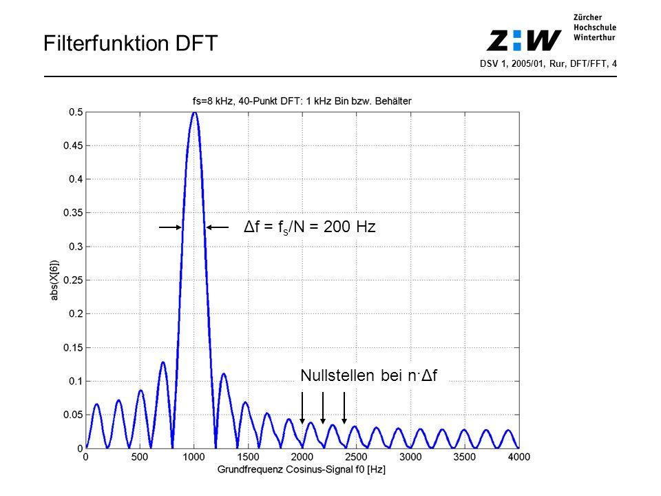 Filterfunktion DFT DSV 1, 2005/01, Rur, DFT/FFT, 4 Δf = f s /N = 200 Hz Nullstellen bei n·Δf