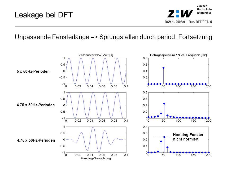 Leakage bei DFT 4.75 x 50Hz-Perioden 5 x 50Hz-Perioden 4.75 x 50Hz-Perioden Hanning-Fenster nicht normiert Unpassende Fensterlänge => Sprungstellen du