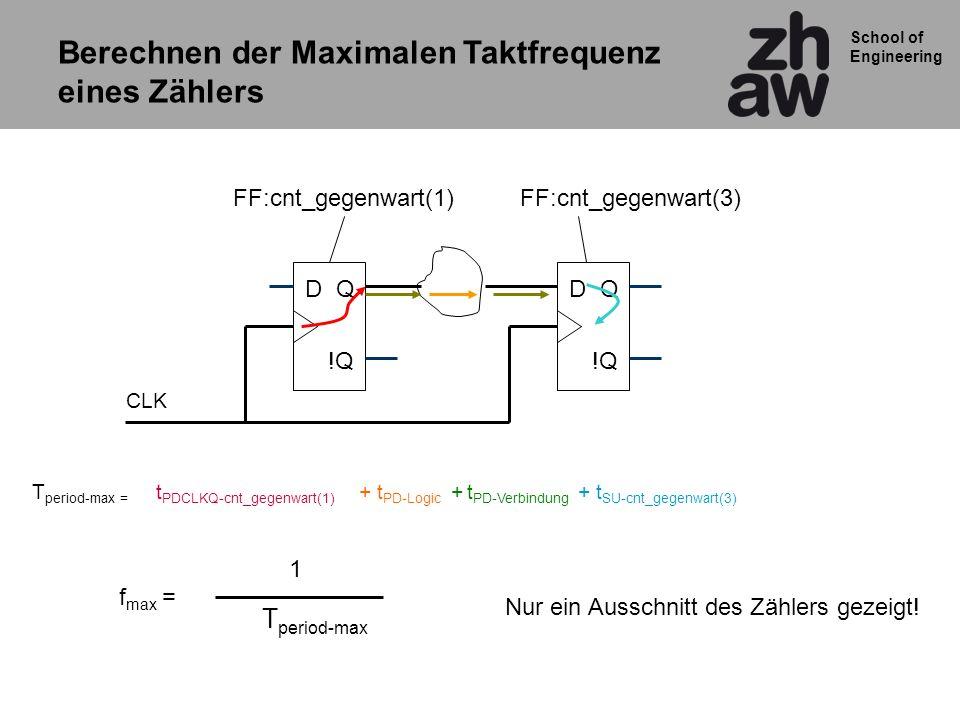 School of Engineering QD !Q QD CLK t PDCLKQ-cnt_gegenwart(1) + t PD-Logic + t SU-cnt_gegenwart(3) + t PD-Verbindung T period-max = f max = T period-ma