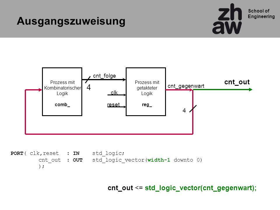 School of Engineering Prozess mit Kombinatorischer Logik comb_ Prozess mit getakteter Logik reg_ cnt_gegenwart cnt_folge clk reset 4 4 Ausgangszuweisu
