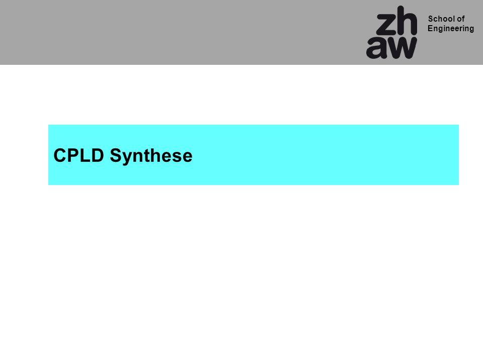 School of Engineering QD !Q QD CLK t PDCLKQ-cnt_gegenwart(1) + t PD-Logic + t SU-cnt_gegenwart(3) + t PD-Verbindung T period-max = f max = T period-max 1 FF:cnt_gegenwart(1)FF:cnt_gegenwart(3) Nur ein Ausschnitt des Zählers gezeigt.