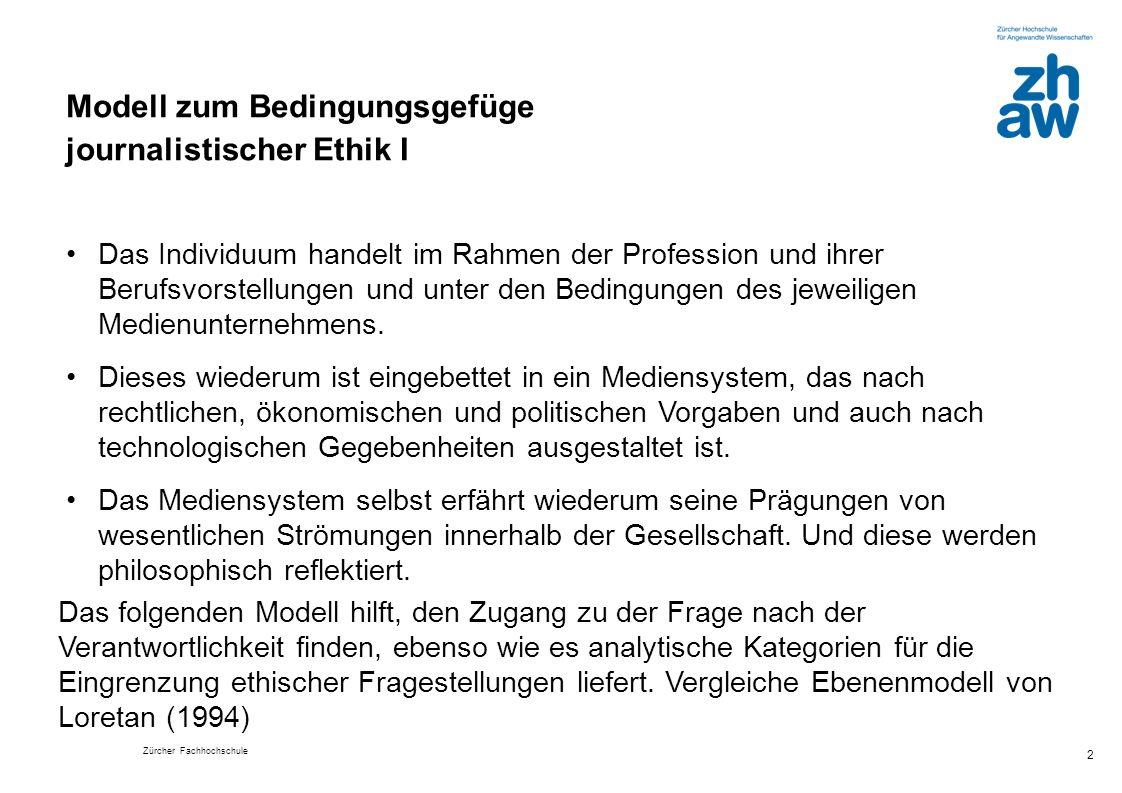 Zürcher Fachhochschule 3 Medienethische Fragen, die Beschreibung von Konfliktfeldern, praktische Dilemmata, Perspektiven für mögliche Korrektive und Handlungsorientierungen können anhand dieses Modells präziser gefasst und Interdependenzen aufgezeigt werden.
