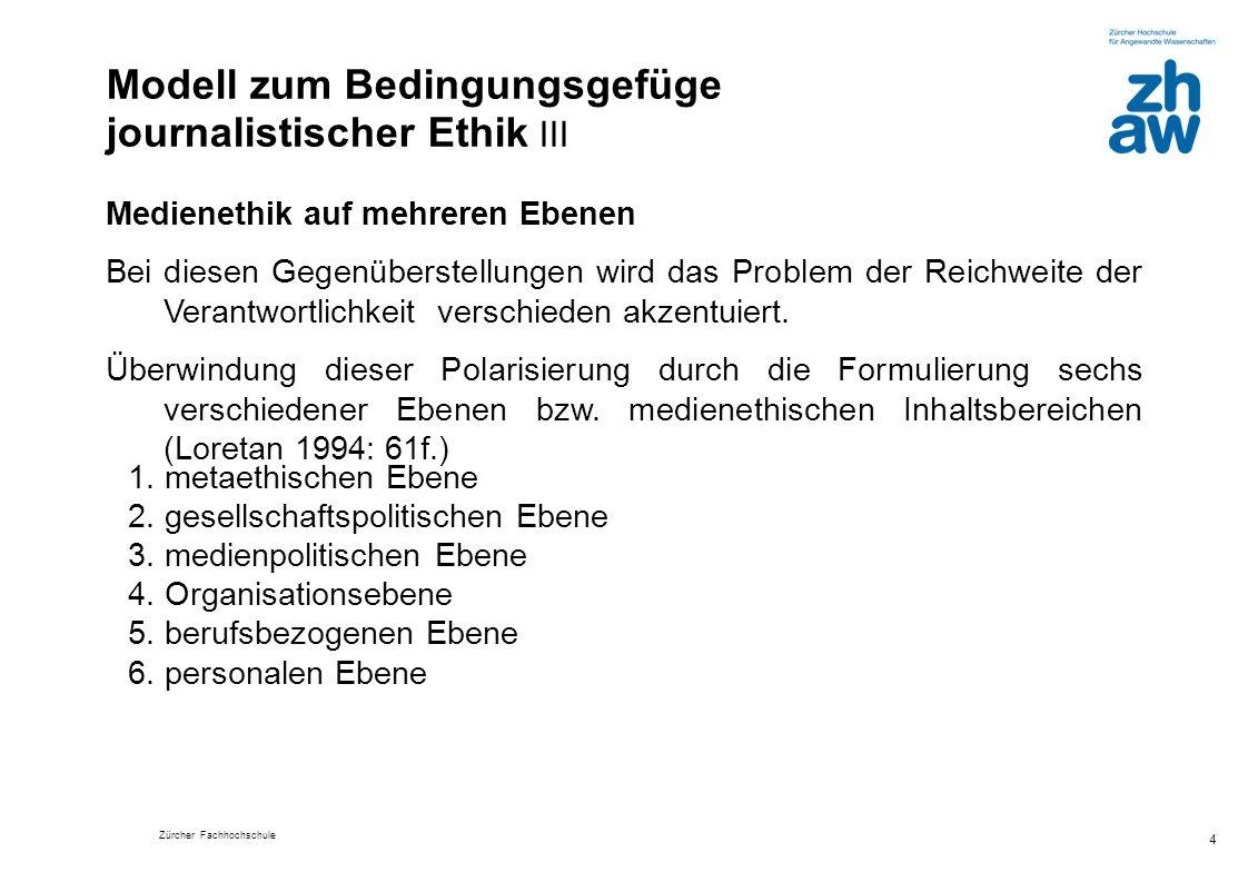 Zürcher Fachhochschule 4 Medienethik auf mehreren Ebenen Bei diesen Gegenüberstellungen wird das Problem der Reichweite der Verantwortlichkeit verschi
