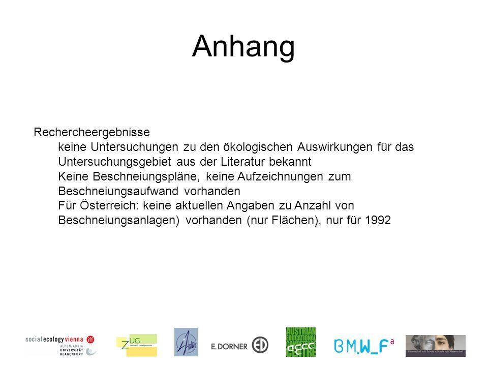 Anhang Rechercheergebnisse keine Untersuchungen zu den ökologischen Auswirkungen für das Untersuchungsgebiet aus der Literatur bekannt Keine Beschneiungspläne, keine Aufzeichnungen zum Beschneiungsaufwand vorhanden Für Österreich: keine aktuellen Angaben zu Anzahl von Beschneiungsanlagen) vorhanden (nur Flächen), nur für 1992